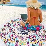 OUTERDO Round Mandala Hippie Boho Tapestry Beach Picnic Yoga Throw Towel Mat Blanket Rug