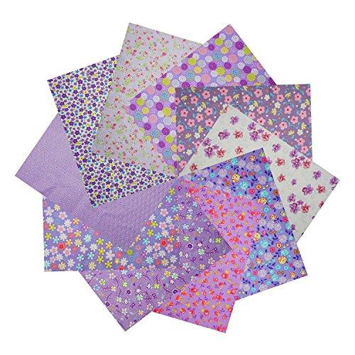 パラ 北欧風 カラー かわいい 花柄 綿布 カットクロス 生地 ハギレ 手芸材料 裁縫材料 10枚セット 30 CM x 20 CM (パープル系)