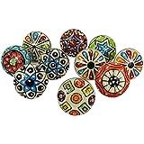 Dorpmarket 10 Pieces Set Dotted Ceramic Cabinet Colorful Knobs Furniture Handle Drawer Pulls