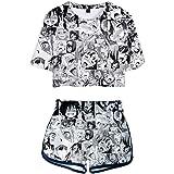 Women's Ahegao Face Print 2 Piece Outfits Crop Top and Shorts Pajamas Set XS-2XL
