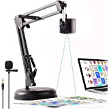 8MP USB 2-in-1 Document Camera and Webcam for Teacher,High Definition Scanner with Rotate Arm and Lavalier Microphone,OCR for