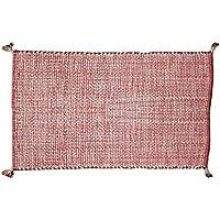 ラグ カーペット 約100×140cm レッド 1畳サイズ コットンフサラグ インド製 洗える シンプル おしゃれ かわいい 可愛い 北欧 ホットカーペット対応 赤