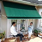LOWYA (ロウヤ) 日よけ オーニング 紫外線99.8%カット 日除け シェード スクリーン 撥水 高さ調節 幅2m グリーン