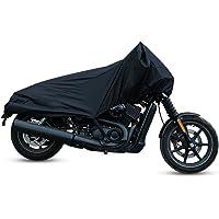 uxcell バイクカバー バイク車体カバー ハーフカバー 防水 風飛び防止 UVカット 防塵 丈夫 軽量 収納バッグ付き M ブラック