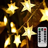 Homeleo 50 LED Warm White LED Twinkle Star Fairy Lights w/Remote Control Battery Powered Five-Pointed Star String Lights