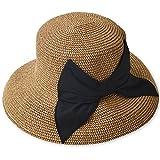 夏の紫外線対策 折りたたみ可能なUVカットできる大きいリボンのつば広帽子 000399-0021-56-