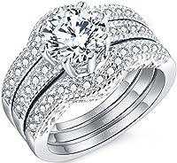 Mabella Jewelry 2.50 CTW ヘイローラウンドホワイトCZ 925ソリッドスターリングシルバー 婚約結婚指輪セット