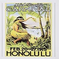 3droseグリーティングカード、イメージのホノルルヴィンテージポスターwith Palm andハワイアンレディ、セットの6(GC 163393_ 1)
