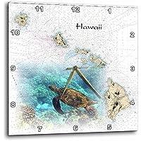 3dRose dpp_204889_3 Print of Hawaiian Islands Chart with Sea Turtle Wall Clock 15 by 15 [並行輸入品]