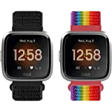 Relting Sport Bands Compatible for Fitbit Versa Versa 2/Versa Lite/Versa SE/Versa Special Edition,Soft Breathable Nylon Repla