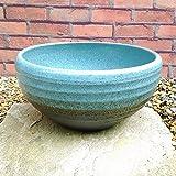 睡蓮鉢 MKS-BL2 水色 (14号) ビオトープ創りに 陶器製 水生植物 姫睡蓮やホテイ草に スイレン鉢 すいれん鉢 メダカ鉢 めだか鉢