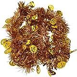 キラキラ パーティー モール クリスマス ハロウィン デコレーション 飾り (パンプキン ゴールド 約 180 cm)