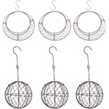 Flameer 6 Pieces Retro Iron Wire Succulent Plants Pot Wreath Frame Metal Hanging Flowers Planter Holder - Moon & Ball Shape