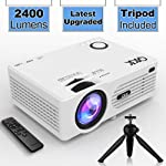 "QKK Projector , 2400Lumens Mini Projector with 176"" Projection Size, 1080P Supported Full HD Video Projector, Compatible..."