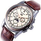 GuTe メンズ より高級より上品 トリプルカレンダー ローズゴールドにベージュ 色合いよい エレガント 革バンド カジュアル 自動巻き腕時計