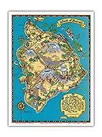 ハワイのハワイ島(ビッグアイランド)地図 - ハワイ観光局 - ビンテージなハワイアンカラーの地図製作のマップ によって作成された ルース・テイラー・ホワイト c.1941 - アートポスター - 23cm x 31cm