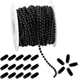 Tiparts 30FT Black Stainless Steel Ball Bead Chains with 20 Pcs Matching Connectors(1 Roll 2.4mm Ball Chains + 20 Connectors)