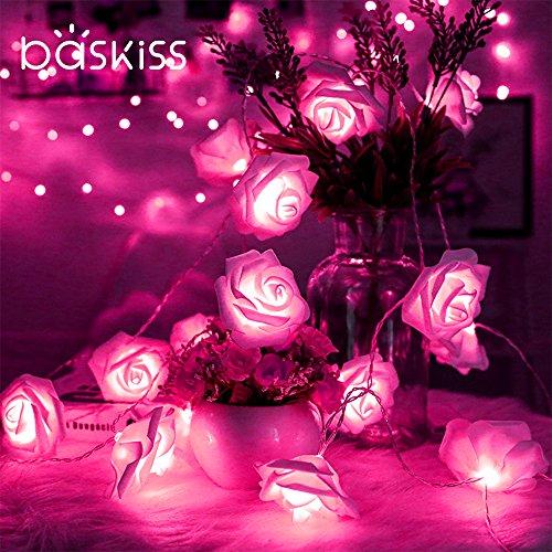 Baskiss 薔薇バラの花型LEDイルミネーションライト 1セット2本 合計4.4m40球 常時点...