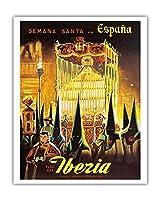 イベリア - スペインのイースター - フライイベリア(スペインの航空会社) - ビンテージな世界旅行のポスター c.1950s - アートポスター - 41cm x 51cm