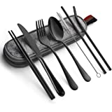 Cutlery Set, JR INTL Portable Stainless Steel Flatware Set, Travel Camping Cutlery Set, Portable Utensil Travel Silverware Di