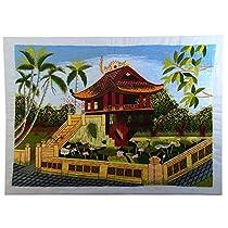 【ノーブランド品】 刺繍絵 アート ベトナム 雑貨 ハンドメイド 作品 蓮池のあずま屋