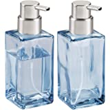 mDesign Foaming Soap Glass Dispenser Pump Bottle Bathroom Vanities Kitchen Sink, Countertops - Pack of 2, Square, Navy Blue/B