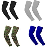 4 Pairs Compression Cooling Arm Sleeves Cover UV Sun Protection Ice Silk Cooling Elbow Sleeve Arm Warmer Sleeves For Men Wome