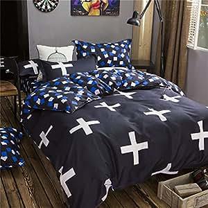Beddingwish 高品質寝具カバーセット 布団カバーセット ボックスシーツ 掛け布団カバー カバーリングセット 柔らかい 通年寝具 夏涼しく冬暖かい 優れた通気性(クイーン 210*210cm)