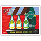 Perrier Zest - Lemon, Orange, Lime Sparkling Waters - Vintage Advertising Poster by Bernard Villemot - Master Art Print 9in x