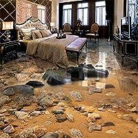 Lcymt 海辺の砂の石のリビングルームの3Dフロア絵画カスタム大フレスコ画Pvc厚い耐摩耗性床カバー-200X140Cm