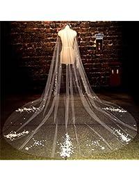 シュウクラブ- 花嫁のヘッド糸美しい花韓国のレースベールロングテール結婚式のベール