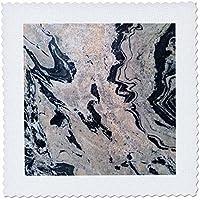 """3dローズFlorene Granite–抽象化と大理石のイメージPeach andブラックGranite–キルト正方形 10 x 10"""" ブラック qs_252654_1"""