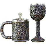 Ossuary Skeleton Skull Mug Tankard and Goblet Set of 2 - Viking Skull Coffee Mug Resin Drinking Cup with Stainless Steel Rim
