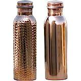 HealthGoodsAU - Set of 2 Pure Copper Water Bottles 20.28 fl. Oz.| Joint-Free Copper Water Bottles Set | Leak-Proof Ayurvedic
