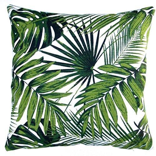 アーティザン枕インドアTropical Palm Leaf Botanicsグリーン18x 18スロー枕 18x18 ホワイト BL-007-01