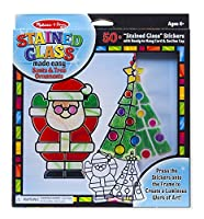 Melissa & Doug Stained Glass Made Easy Craft Kit - Santa and Tree Ornaments [並行輸入品]