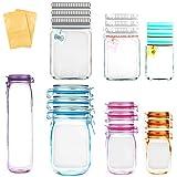 19 Pack Mason Jar Zipper Bags,Food Storage Snack Sandwich Ziplock Bags,Reusable Airtight Seal Food Storage Bags,Leakproof Foo