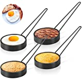 Allnice Egg Rings, 4 Pcs Round Pancake Mold Non-Stick Egg Shaper Stainless Steel Poachette Rings for Fried and Poached Eggs C