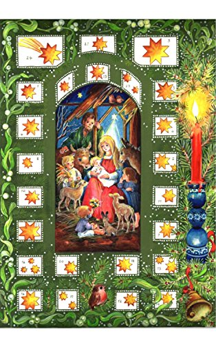 Children's Nativity with Green Star Bordered Windows Advent Calendar Approx 8.25' x 11.75' (44) [並行輸入品]
