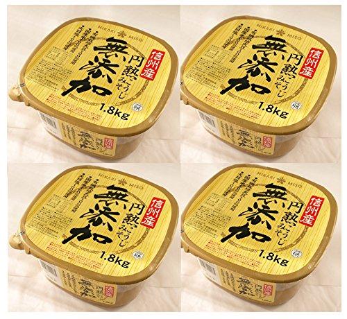 553477-4P ひかり味噌 HIKARI MISO 信州産 円熟こうじみそ 無添加 1.8kg×4個