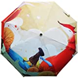 Sulida Manual Triple Folding Painting Sun Rain Travel Umbrella for Lady