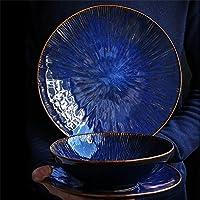 ステーキパスタフルーツサラダスープラーメンラーメンクリームセラミックフルーツサラダボウルセットのための金箔付き大皿ボウル (Design : 8.5-inch plate)
