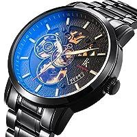 Bestn Wristwatchesメンズの自動巻きAllochroic Luminous Handsスケルトン機械Seampunkブラック時計