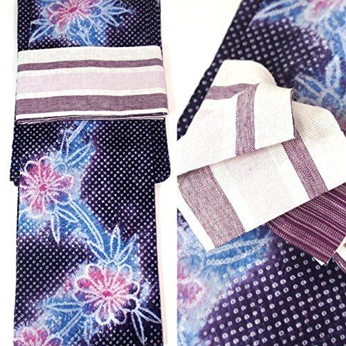 絞り浴衣セット 2点セット 本場有松絞り浴衣 フリーサイズ すぐに着られます 仕立上り商品 高級木綿 リバーシブル半巾帯 麻 ays11004