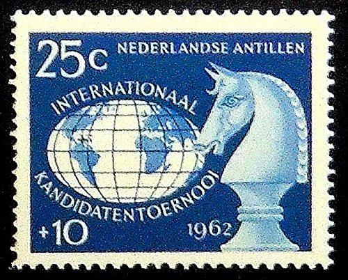 チェスピースKnight Nederlandse Antillen–ハンドメイド切手スタンプアート0184