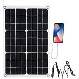 LIXADA ソーラーチャージャー ソーラーパネル 太陽光発電 10/20/30/40W 単結晶 高変換効率 IP65防水 USBポート 防災 アウトドア キャンプ キャンピングカー ハイキングなど用