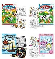 Childrens Sticker Activity Books - Pack of 4 Books 8.25 x 11.5 - Farm Animal Stickers Princess Pirates Horse Farm Animals Activity Sticker Book [並行輸入品]