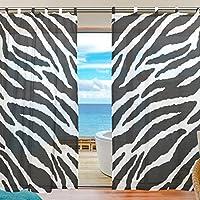 USAKI(ユサキ)高品質 おしゃれ 薄手 柔らかい シェードカーテン紗 ドアカーテン,セクシー ゼブラ柄,装飾 窓 部屋 玄関 ベッドルーム 客間用 遮光 カーテン (幅:140cm x丈:210cmx2枚組)