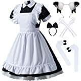 Japanese Anime Lolita French Maid Apron Fancy Dress Cosplay Costume Gloves Headwear Socks Set