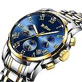 Best メンズ腕時計 - 腕時計、メンズ腕時計、ラグジュアリークラシックステンレス腕時計ビジネスカジュアルウォッチメンズ防水マルチ機能クォーツ腕時計メンズ (ゴールド) Review